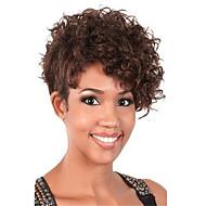 peluca castaño rizado corto para las mujeres peluca sintética corte de pelo natural, lo más destacado