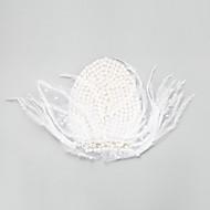 נשים / נערת פרחים נוצה / סגסוגת / דמוי פנינה כיסוי ראש-חתונה / אירוע מיוחד קישוטי שיער חלק 1 לבן עגול