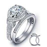 2016 Luxurious Engagement Classic Diamond 925 Sterling Silver Wedding Rings Set For WomenImitation Diamond Birthstone
