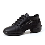 Women's Dance Shoes Leather / Fabric Leather / Fabric Dance Sneakers Split Sole Chunky Heel Performance Black / White