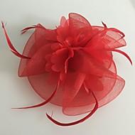 Women's Feather / Tulle / Net Headpiece-Wedding / Special Occasion Fascinators 1 Piece