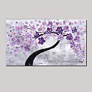 spatula art olajfestmény kézzel festett lila fali dísz kép friss, zöld, rózsaszín cseresznyevirág feszített keret