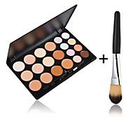 20 cores rosto contorno creme de maquiagem corretivo pincel paleta + 1 pcs de alta qualidade em pó
