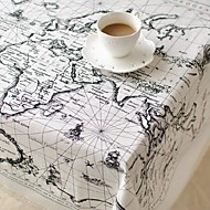 Global Map Pattern Table Cloth Fashion Hotsale High-grade Cotton Linen Square Coffee Table Cloth Cover Towel
