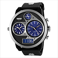 Men Round Dial Three Time Zones Sports Wristwatch with Artificial Leather Strap Wrist Watch Cool Watch Unique Watch