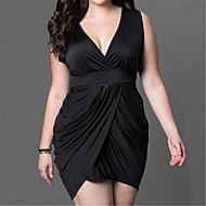 Mulheres Bainha Vestido,Festa/Coquetel / Tamanhos Grandes Sensual / Simples Sólido Decote em V Profundo Acima do Joelho Sem MangaAzul /