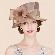 Women's Satin / Feather / Flax Headpiece-Wedding / Special Occasion / Casual Fascinators / Hats 1 Piece