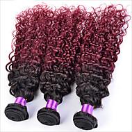 Ombre Βραζιλιάνικη Kinky Curly 18 μήνες 3 Κομμάτια υφαίνει τα μαλλιά