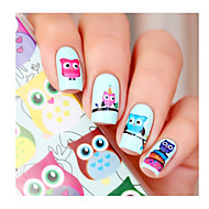 cartoon uil nail art water decals overdracht sticker geboren vrij