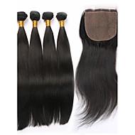 Trama do cabelo com Encerramento Cabelo Peruviano Retas tece cabelo