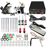 Professional Complete 2  Tattoo Machine Kit 3PCS Ink Power Supply Needle Grips Tips