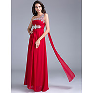 Formal Evening Dress A-line One Shoulder Floor-length Georgette with Beading / Crystal Detailing / Draping / Crystal Brooch / Ruching