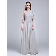 Floor-length Chiffon Bridesmaid Dress Sheath / Column One Shoulder with Ruffles / Side Draping / Ruching