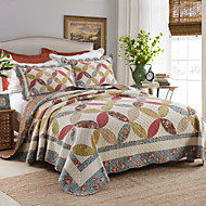 100% Cotton Patchwork  Torus 3 pieces Quilted Bedspread set , King Size