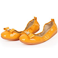 Non Customizable Women's Dance Shoes Leather Leather Ballet Flats Flat Heel Practice / Professional Yellow / Red