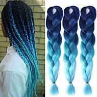 """Um pacote de safira céu azul ombre crochet 24"""" yaki kanekalon fibra 100g 2 tranças tom jumbo cabelo sintético"""