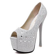 נעלי נשים-עקבים-PU-נעלים עם פתח קדמי / נוחות-שחור / כסוף-שמלה / מסיבה וערב-עקב סטילטו
