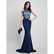 2017 TS Couture® Formal Evening Dress Trumpet / Mermaid Halter Sweep / Brush Train Lace / Jersey with Beading / Lace
