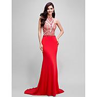 Formal Evening Dress Trumpet / Mermaid Halter Sweep / Brush Train Jersey with Beading