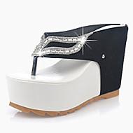 Női Szandálok PU Nyár Hétköznapi Glitter Parafa Fehér Bíbor 4 inch-4 3 / 4 inch