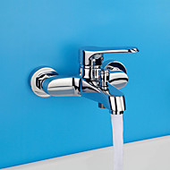 Contemporary  Shower Only Widespread with  Ceramic Valve Single Handle Two Holes for  Chrome , Shower Faucet