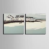 canvas Set Paisagem Estilo Europeu,2 Painéis Tela Quadrangular Impressão artística wall Decor For Decoração para casa