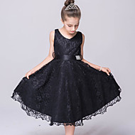 A-line Knee-length Flower Girl Dress-Lace / Tulle Sleeveless