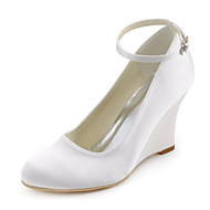 Women's Shoes Stretch Satin Spring / Fall Wedges Heels Wedding / Party & Evening / Dress Wedge Heel Buckle White