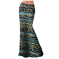 Women's Print Blue Skirts,Plus Size / Boho Maxi