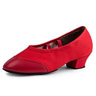 Na míru-Dámské-Taneční boty-Latina-Kanvas-Nízký podpatek-Červená