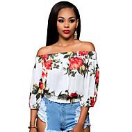 3/4 ærmelængde Bateau-hals Medium Kvinders Blå / Rød / Grøn Blomstret Sommer Vintage Casual/hverdag T-shirt,Polyester