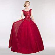 Formal Evening Dress A-line Scoop Floor-length Lace / Tulle with Lace / Pearl Detailing