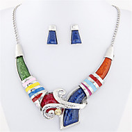 Women's European Style Fashion Simple Geometric Metal Necklace Earrings Set