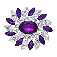 Fashion Exquisite Cheap Round Blue Flower Women Wedding Brooch Pins