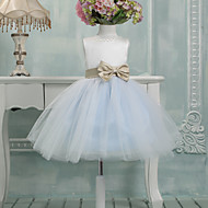 Ball Gown Knee-length Flower Girl Dress - Tulle Sleeveless Jewel with Bow(s)