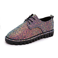 Women's Shoes Glitter British Style Comfort / Round Toe Sneakers Outdoor / Casual Sparkling Glitter / Lace-up