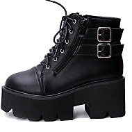 Boots Winter Combat Boots Leather Outdoor / Casual Wedge Heel Buckle / Lace-up Black