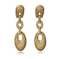 עגיל Oval Shape תכשיטים 1 זוג אופנתי חתונה / Party / יומי / קזו'אל זירקוניה מעוקבת / נחושת / מצופה פלטינום / ציפוי זהב נשיםמוזהב / לבן /