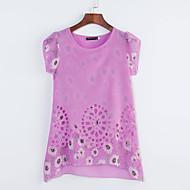 Mulheres Blusa Casual Simples Verão,Estampado Rosa / Amarelo / Roxo Decote Redondo Manga Curta Fina