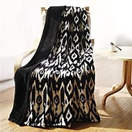 "Flannel Blankets Bed Blanket  W70""×L79"" Super Soft Warm and Easy Care Geometric Pattern"