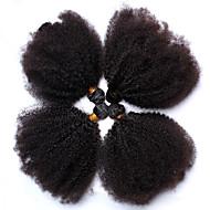 Echthaar Mongolisches Haar Menschenhaar spinnt Kinky Curly Afro-Frisur Ringellocken Haarverlängerungen 4 Stück Schwarz