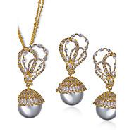 Ensemble de bijoux Imitation de perle Zircon Cuivre Platiné Plaqué or Mode Pierres de naissance Mariée Forme de Fleur Or BlancCollier /
