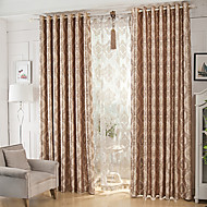 Dvije zavjese Moderna Cvjetni / Botanički Boja kave Dining Room Polyester Zavjese Zavjese