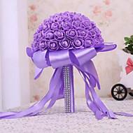 """פרחי חתונה עגול ורדים זרים חתונה סאטן / סאטן אלסטי / קצף / אבן ריין 9.45""""(לערך.24ס""""מ)"""