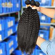 3stk / lot 10 '' - 26''brazilian jomfru hår naturlige sorte kinky lige rå menneskehår vævning