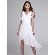 Lanting Bride® Asymmetrisch Chiffon Brautjungfernkleid A-Linie V-Ausschnitt mit