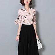 Vrouwen Vintage / Boho Blouse,Uitgaan Print V-hals Halflange mouw Roze / Wit / Groen Polyester Dun