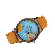 Men's Watch World Map Case Quartz Denim Band Simple Dress Wacth Casual Watch