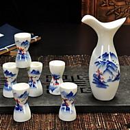 Hand Painted Pattern Ceramics Wine Set(7 Piece Random Pattern)