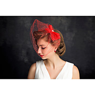 Women's Pearl / Net Headpiece-Special Occasion Fascinators 1 Piece Red
